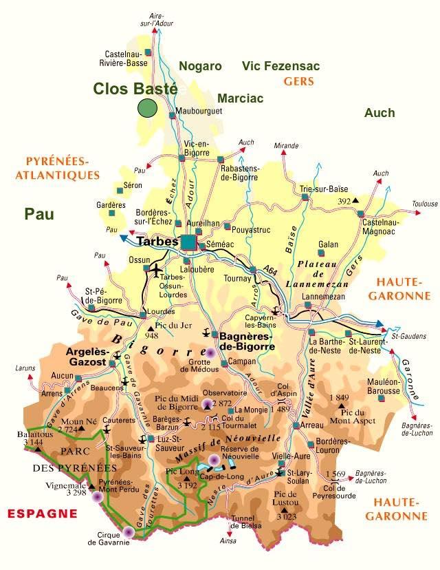 Tourisme en Madiran voici la Carte touristique situation Clos Basté